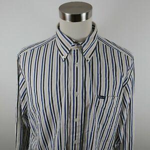 Faconnable Mens Cotton Classique LS Button Up Black Blue Beige Striped Shirt XL