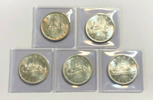 Lot-of-FIVE-80-Silver-Canadian-Silver-Dollars-0-600-ASW-each-coin-3-0oz-ASW