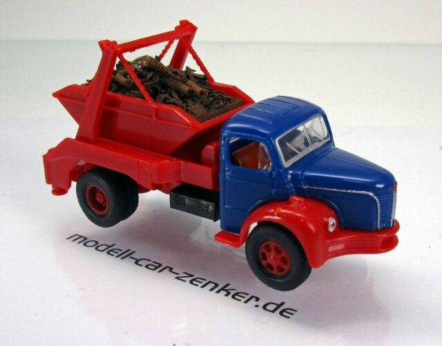 Brekina 85396 Berliet GLR 8 blau rot  mit neuem Ladegut Absetzkipper Scale 1 87