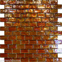 10sf-golden Brown Iridescent Subway Glass Mosaic Tile Backsplash Kitchen Spa