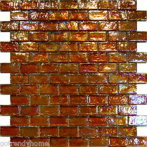 Image Is Loading 10sf Golden Brown Iridescent Subway Gl Mosaic Tile