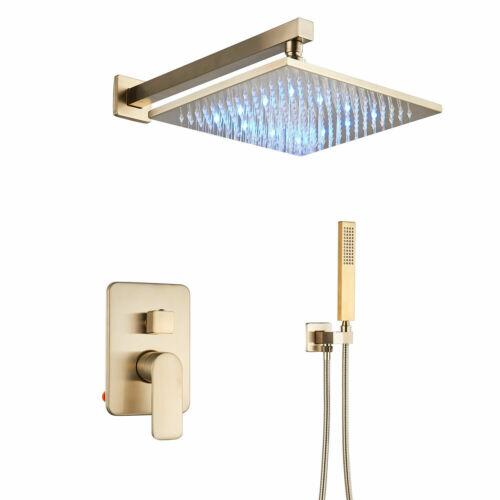 """8/""""10/""""12/""""16/""""Brushed Gold LED Shower Combo Set Luxury Rain Shower System W//Spray"""