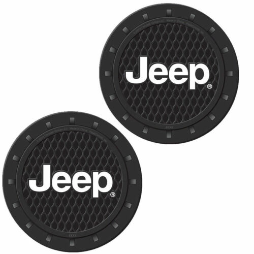 Plasticolor Jeep Logo Cup Holder Pair Coaster Universal Fit All Sizes Cups