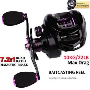 Fishing Baitcasting Reels 22lb Drag 7.2:1 High Speed Ultralight Magnetic Brake