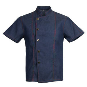 unisexe-denim-chef-veste-manteau-manches-courtes-chemise-cuisine-uniforme
