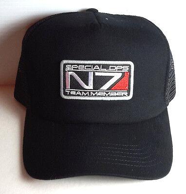 Mass Effects N7 Special Ops Team Member Logo Baseball Cap/HAT-BLACK- FREE S&H