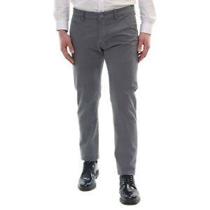 Pantaloni-Uomo-Slim-Fit-Estivi-Cotone-Grigio-Elegante-Chino-Casual-Tasca-America