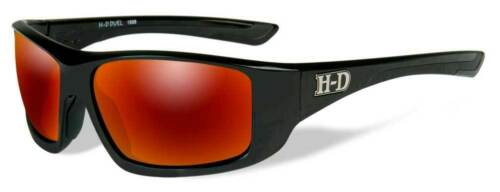 Harley Davidson Mens Duel Sunglasses Red Mirror Lenses Black Frame