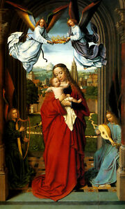 VIRGIN AND CHILD WITH FOUR ANGELS JESUS RELIGIOUS PAINTING BY GERARD DAVID REPRO