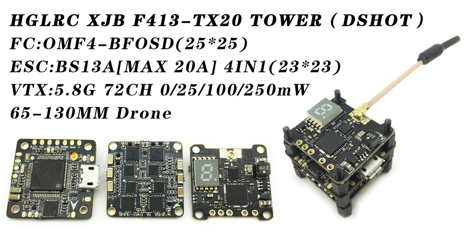 HGLRC XJB F413-TX20-ELF Flight TOWER CAMERA DSHOT Flight Control Board BS13A VTX