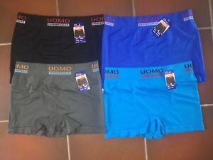1-Uomo-Herren-Boxershorts-uni-schwarz-blau-grau-Baumwolle-Gr-M-L-und-XL-XXL