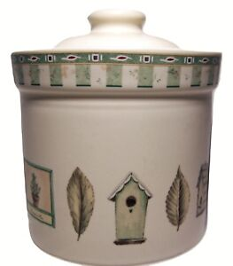 Pfaltzgraff-Naturewood-Mini-Canister-Birdhouse-Oak-Leaves-Green-Basil-4-7-8-Herb