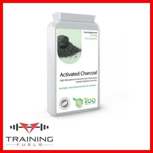 Activated Charcoal 300mg 120 Capsules Digestion, Flatulence, Skin Troo Health