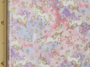 Kokka-Unicorn-Design-Japanese-Fabric-Double-Gauze-Pink-110cm-x-50cm
