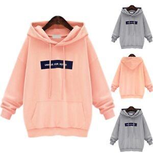 Uk Plus Size Women Hoodies Sweatshirt Ladies Hooded Sweater Tops