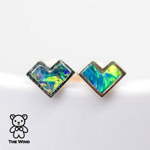 Details About Geometric Heart Shaped Australian Doublet Opal Stud Earrings 14k Gold
