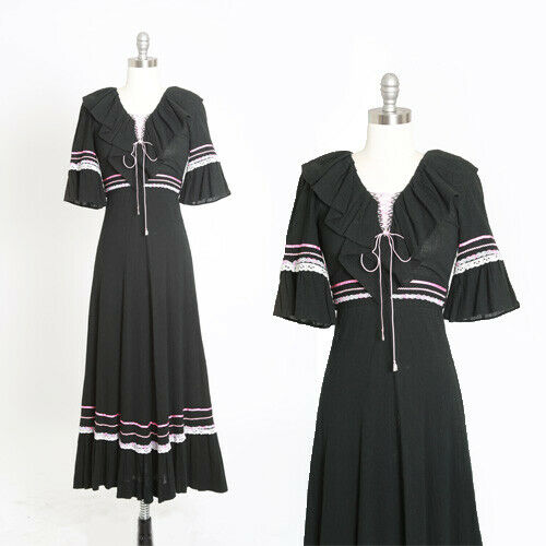 Vintage 70s black cotton gauze lace up maxi dress