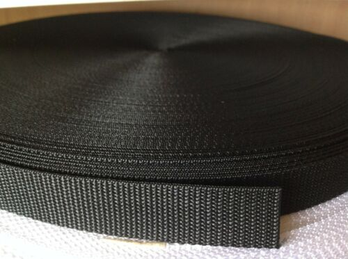 20mm Nylon Black Webbing Tape Strap Lead Material x 100 Meters