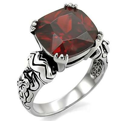 Stainless Steel Ornate Cushion Garnet CZ Cocktail Ring Size 5/6/7/8/9/10 FSH A3