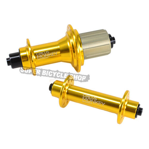 Circus Monkey HRW Road Hubs, 20 Hole,1 Pair, Gold