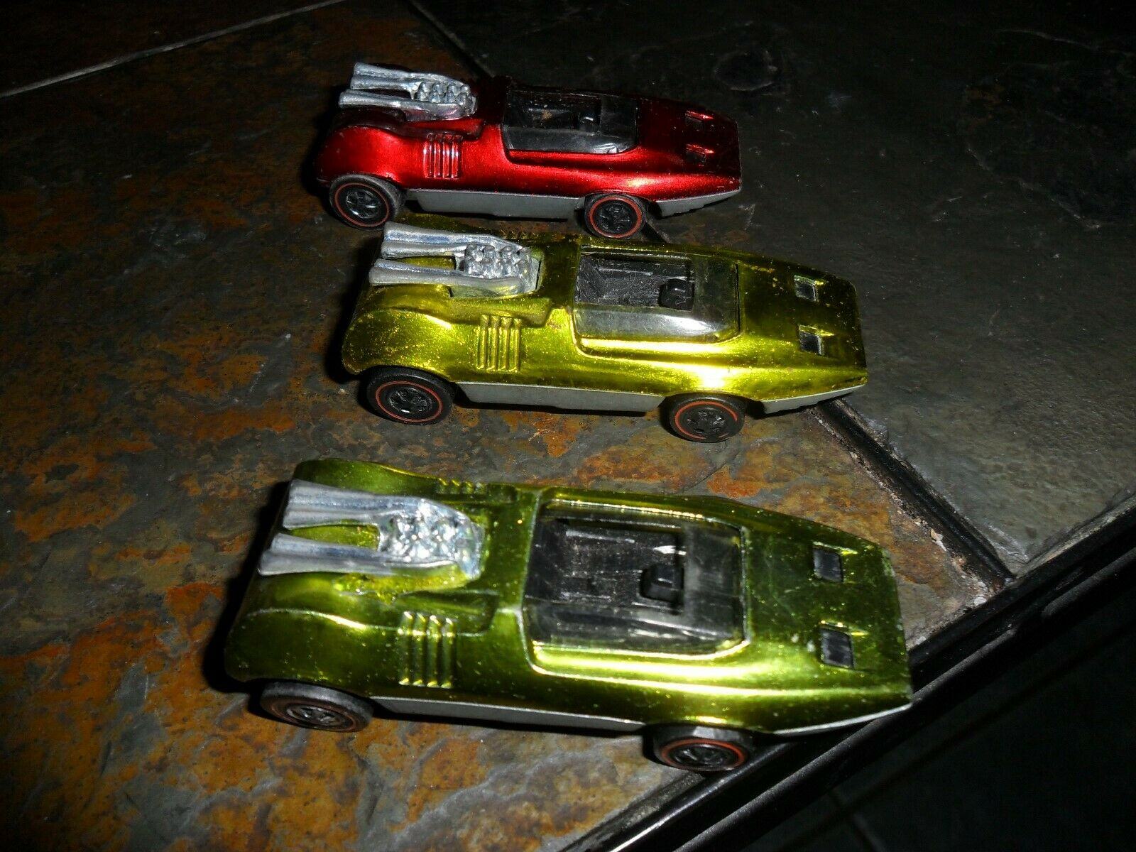 3 LOT ORIGINAL 1970 Hot Wheels Redline Peeping Bomb USA YELLOW &  RED & LIME