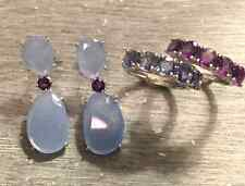 NEW!!14K white gold Periwinkle Blue Calcedony and Purple amethyst drop earrings