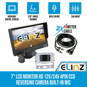 "7"" LCD Monitor HD 12V/24V 4PIN CCD Reversing Camera Rearview Built-in Mic WHITE"