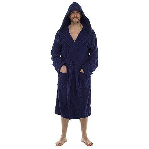 INSANE SALE - Mens 100 Cotton Terry Towelling Hooded Shawl Collar Bathrobe Dres