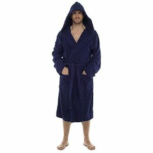INSANE-SALE-Mens-100-Cotton-Terry-Towelling-Hooded-Shawl-Collar-Bathrobe-Dres