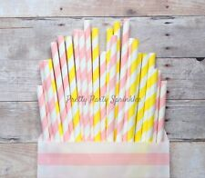 25 PC Light Pink and Yellow Striped Paper Straws/Lemonade Party/Photo Props