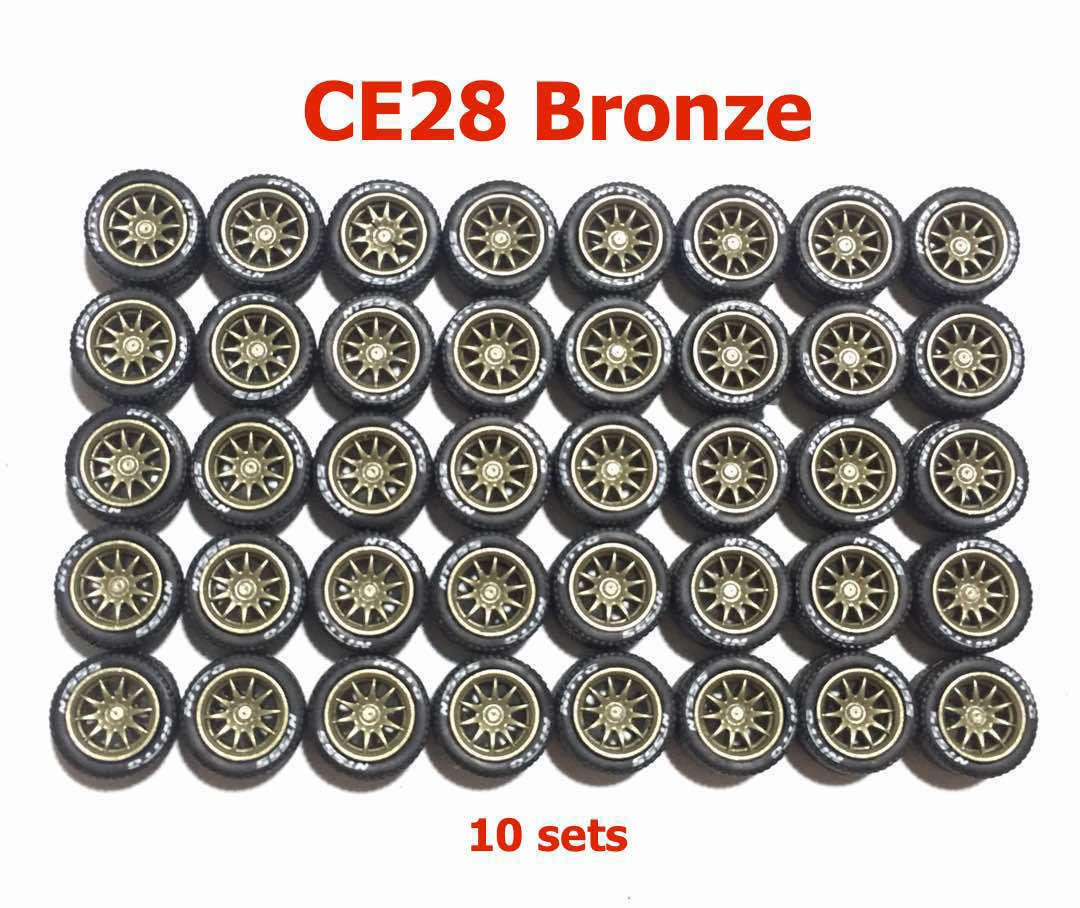 1 64 rubber tires CE28 bronze rim fit Hot Wheels Matchbox diecast - 10 sets