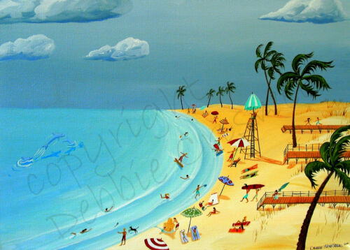 Beach sand surf boards vacation swim ocean Giclee ACEO print folk art Criswell