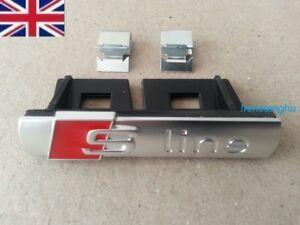 SLine-Chrome-silver-Front-Grill-Badge-Emblem-S-Line-For-Audi-A1-2-3-4-5-6-8-Q-RS