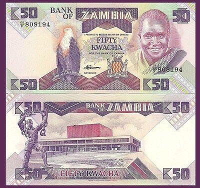 50 Kwacha Fish Eagle Zambia P28a Slave Breaking Chains Unc Cat Val