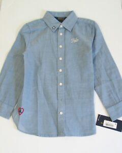 145229750 Polo Ralph Lauren Girls Embroidered Cotton Long Sleeve Shirt Blue Sz ...
