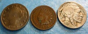 Liberty V Nickel  Buffalo Nickel Indian Head Cent Collection  #BVI