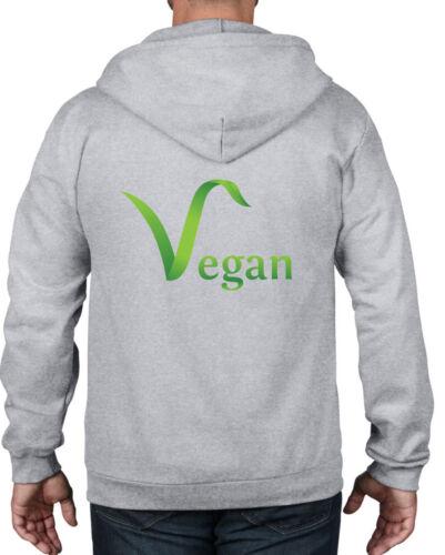 VEGAN LOGO FULL ZIP HOODIE Colour Choice Animal Rights Veggie Gift Present