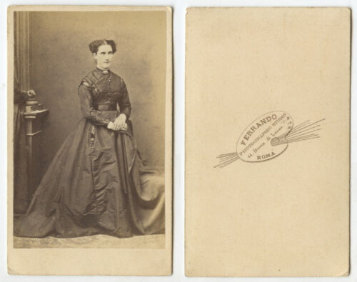 FOREIGN CDV STUDIO PORTRAIT LADY W GREAT DRESS FROM ROME BY FERRANDO
