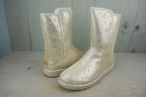 a33978cced3 Details about UGG ABREE SHORT II STARDUST METALLIC GOLD MOUTON FUR SUEDE  BOOTS US 12 NIB