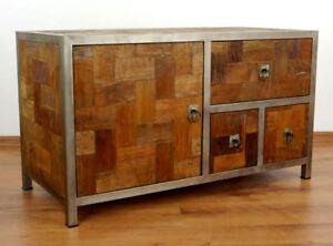 java metall trifft teak sideboard kommode tv schrank hifi m bel phonoschrank ebay. Black Bedroom Furniture Sets. Home Design Ideas