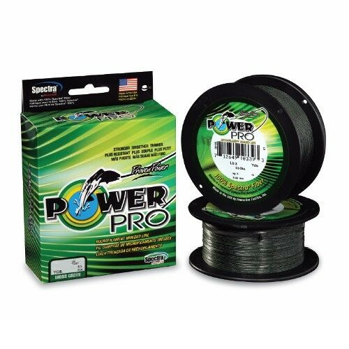 Power Pro Spectra Braid Fishing Line 20 lb Test 1500 Yards Yds Moss Green 20lb