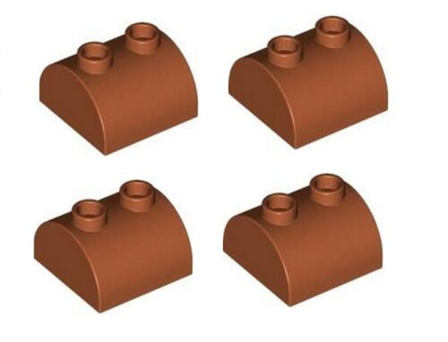 LEGO 4 x Curved Brick with Slope Top 2 x 2 with 2 top studs Reddish Brown NEW