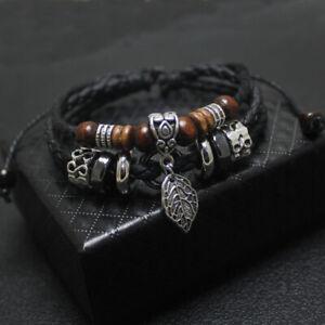 Men-039-s-Bracelet-Leaf-Leather-Bangle-Multilayer-Vintage-Woven-Charm-Adjustable