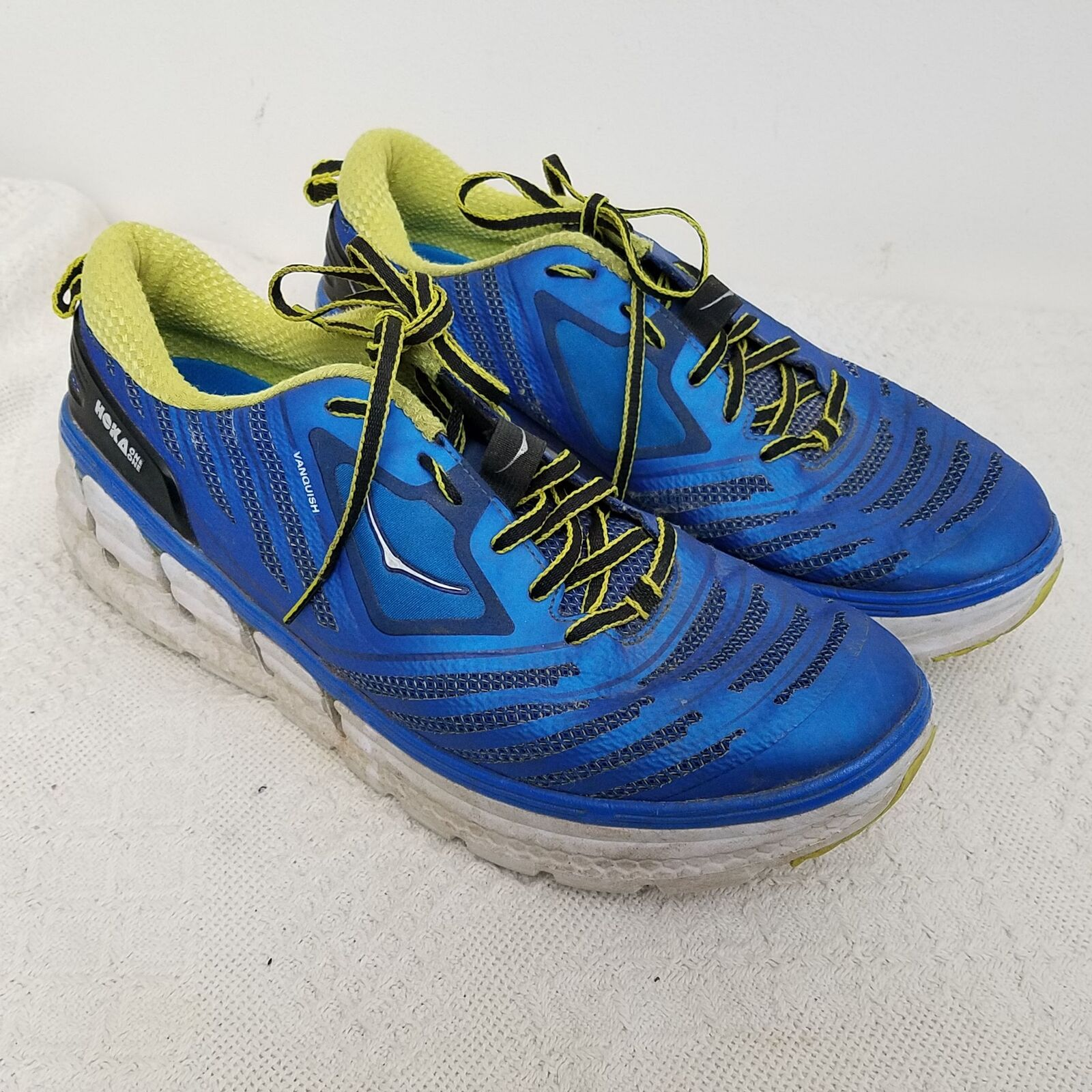 Hoka One One Mens Vanquish 12 bluee Green Lace Up Athletic Running
