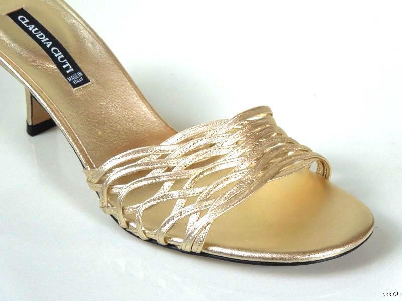New CLAUDIA CIUTI 'Giusy' Gold strappy mules heels schuhe
