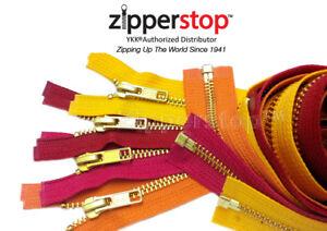 YKK-5-Brass-Metal-Medium-Weight-Jacket-Zipper-Separating-2-Zippers-24-034-or-25-034