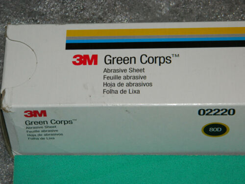 """NEW 3M 02220 GREEN CORPS PRODUCTION PAPER ABRASIVE 100 SHEETS GRADE 80D 17.5/"""""""