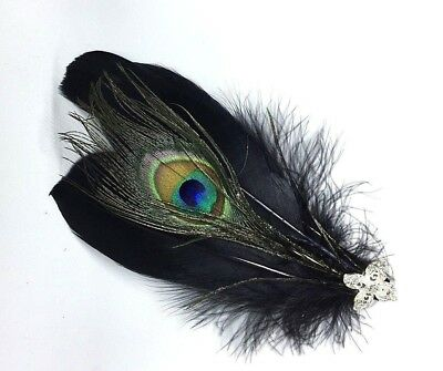 Black /& Silver Feather Fascinator Headpiece Wedding Party Hair Clip Vintage