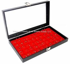 1 Glass Top Lid Red 50 Space Jewelry Display Box Case Rings Charms Collectibles