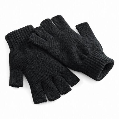 Beechfield Fingerless Unisex Warm Winter Gloves Soft Warm Mens Ladies Essential